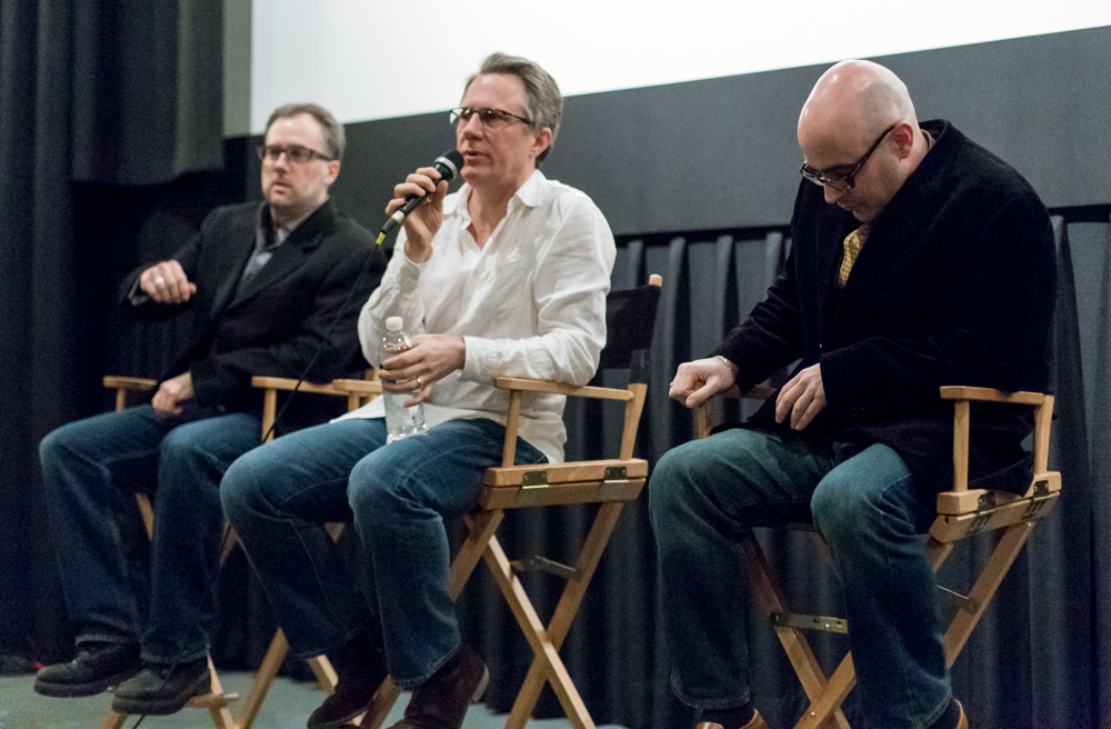3x3 Project directors Billy Speruzzi, Brian Dilg, and Miguel Parga taking questions from backers after the screening