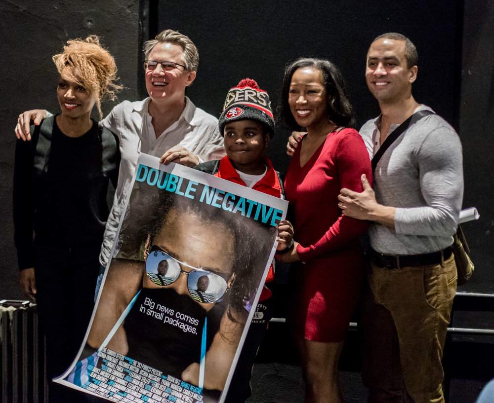 Double Negative cast members with director Brian Dilg. From left to right: Yvonne Wandera, Maximums Britton, Joanna Rhinehart, and Joshua Musgrave. (Not pictured: Charles Miller.)