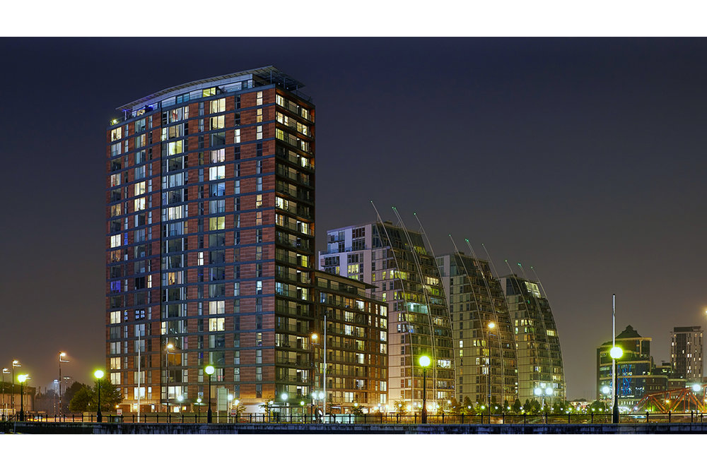Architectural photography exterior: Salford quays development including NV buildings. Architects include Broadway Malyan. Image (C) Matthewlingphotography.co.uk