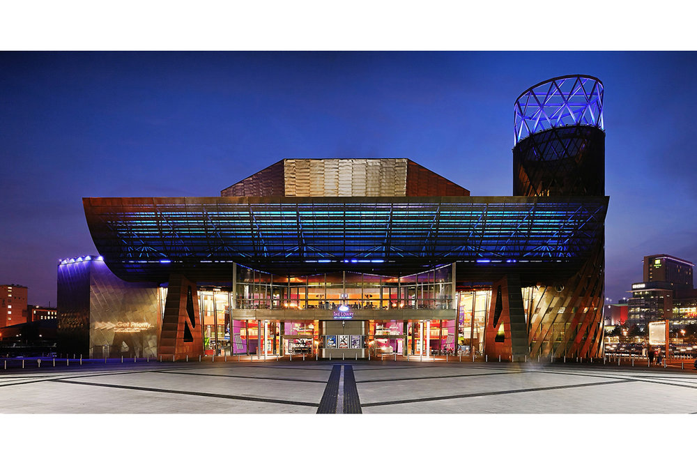 Architectural photography exterior: Lowry theatre, Salford Quays, Salford, Greater Manchester, UK. Architect: Michael Wilford. Image (C) Matthewlingphotography.co.uk