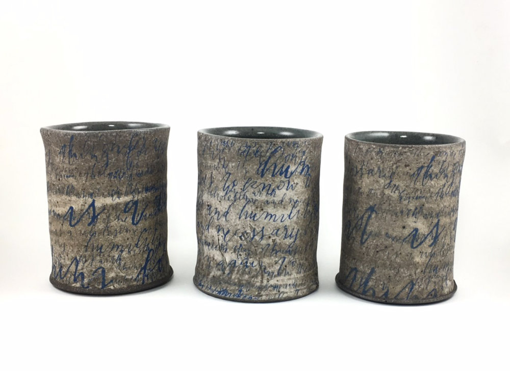 Three Yunomi with calligraphy by Beth Schaible