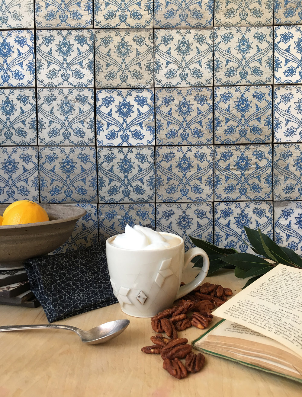 "4"" Iznik Backsplash, in Delft Blue"