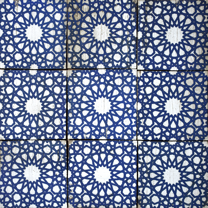 "Repeating 6"" Seljuk Tile in Blue"