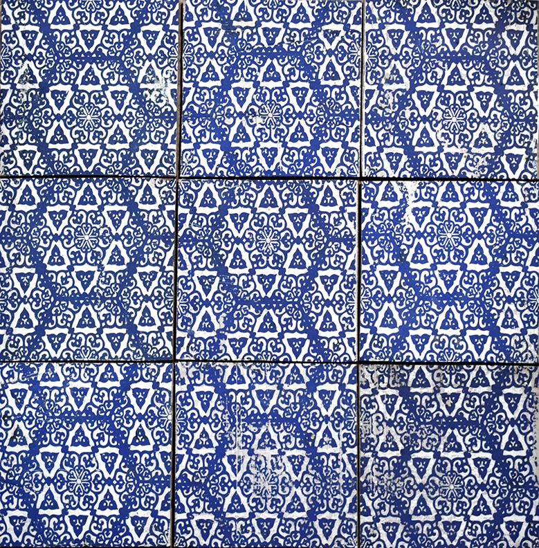 "Repeating 6"" Asal Tile in Blue"