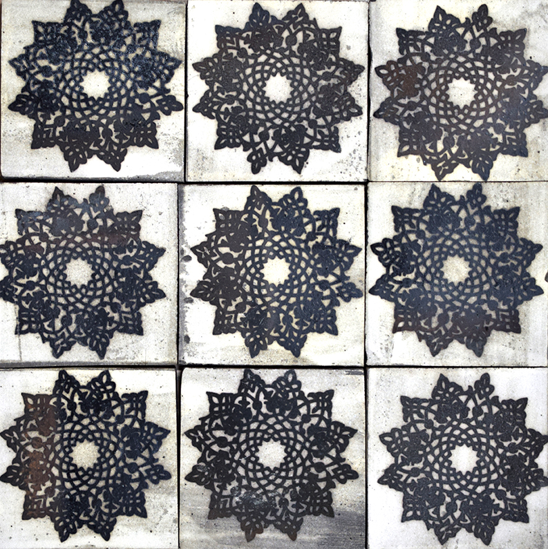 "Repeating 4"" Alborz Tile in Black"