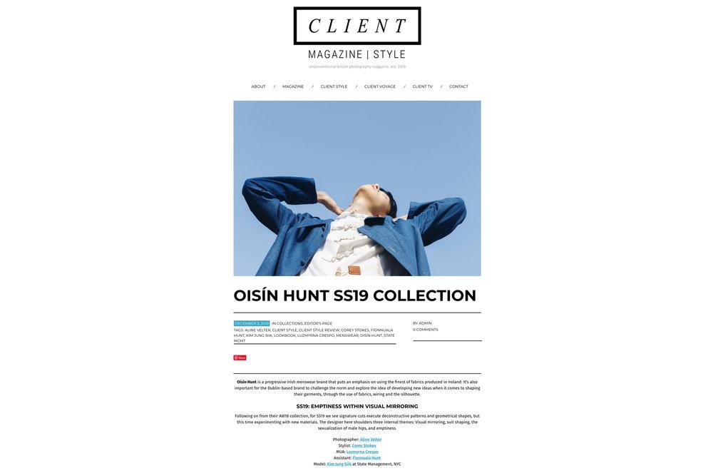 Client Magazine |  Oisín Hunt SS19