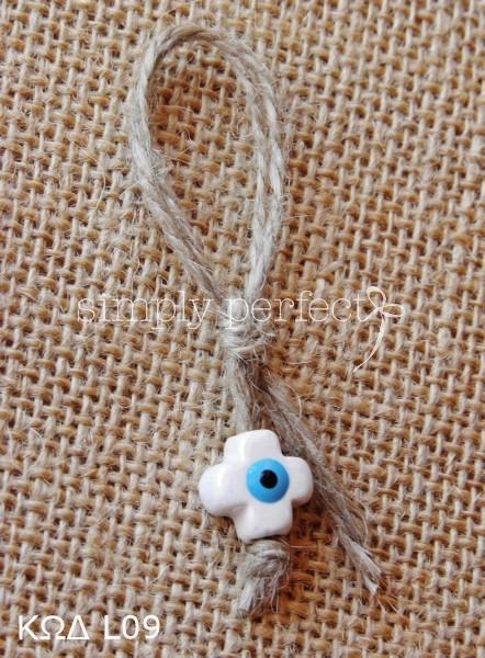 Μαρτυρικό καρφίτσα με κεραμικό σταυρό-ματάκι: ΚΩΔ L09