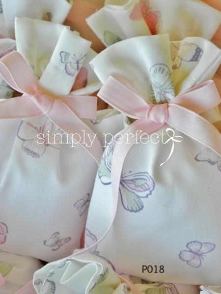 Μπομπονιέρα πουγκί με πεταλουδίτσες: ΚΩΔ Ρ018