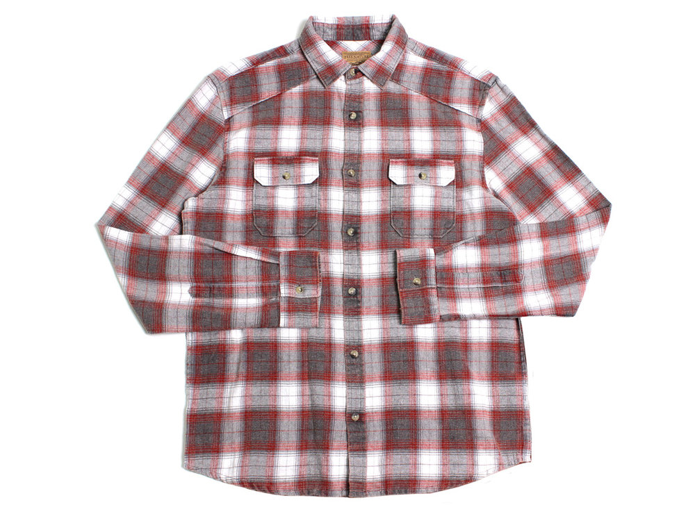 Negative Space LS Button Up - Grey/Red