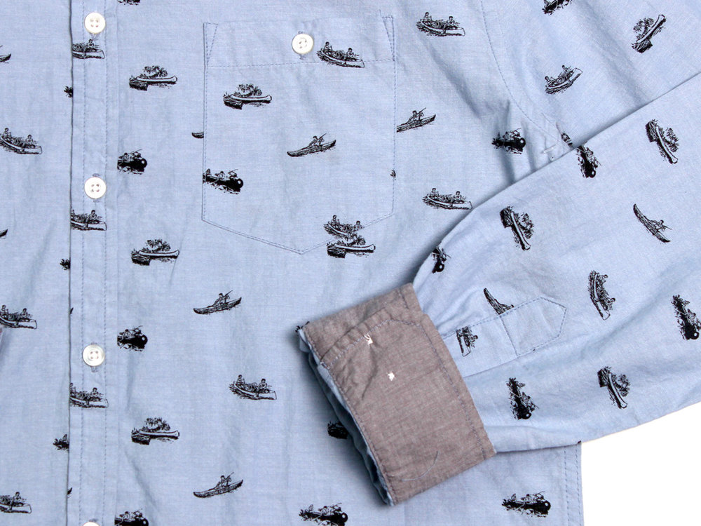 Canoes LS Button Up - Dusty Blue
