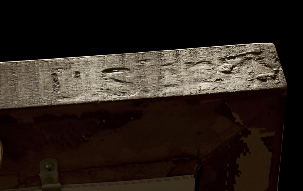 Above: Hand-carved inscription which reads: U.S.ARMY. The painting that this frame was acquired with is in the style of the Russian artist, Olga Rozanova.