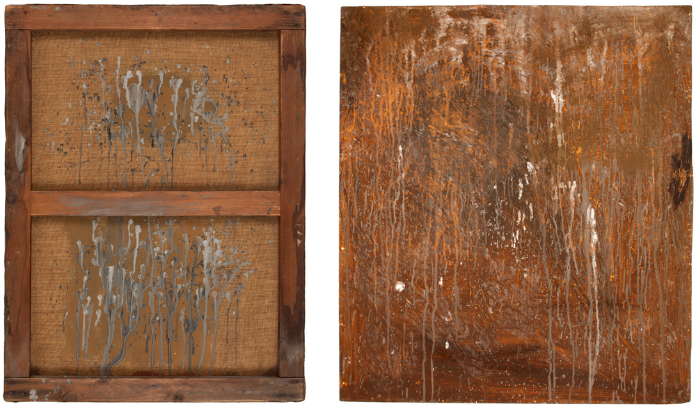 Two paintings that are stylistically similar with similar paint splatters on their reverse. The painting on the left is on canvas, right on plywood.