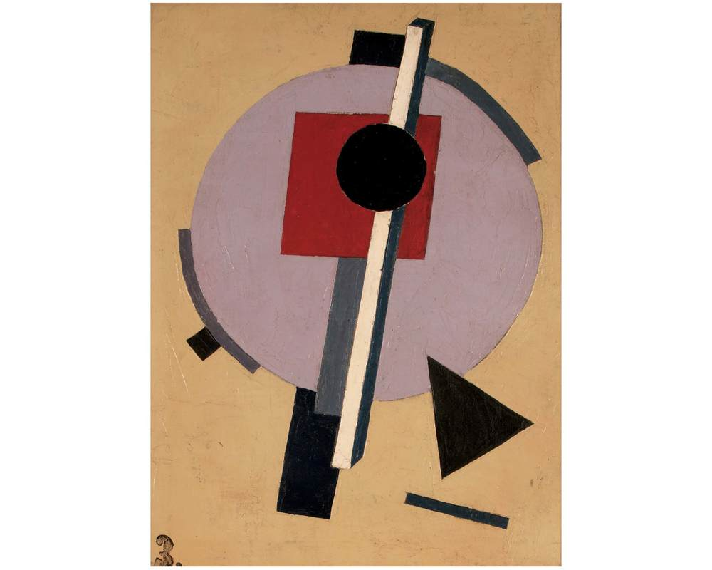 Unattributed. Unsigned.   In the style of El Lissitzky. Oil on canvas. 38 x 29 cm.