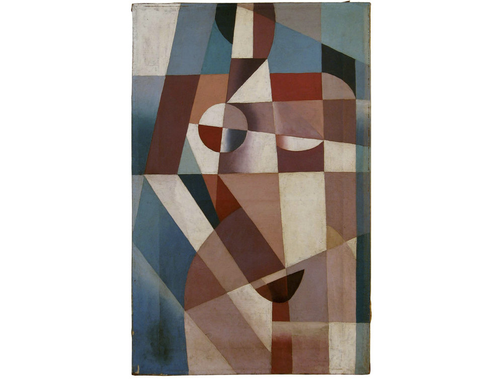 Unattributed. Unsigned. In the style of Lyubov Popova    Oil on canvas. 40 x 25 cm.