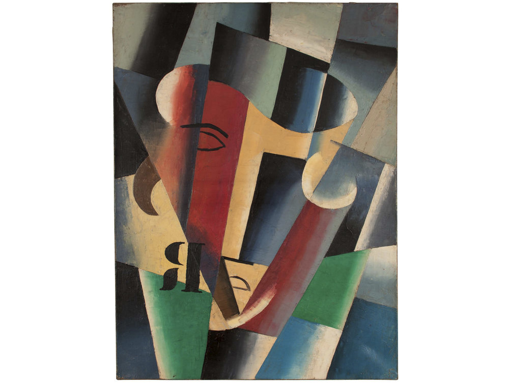 "Unattributed. In the style of Lyubov Popova. Signed ""B"" in Russian, lower right front.     Oil on canvas. 46 x 61 cm."