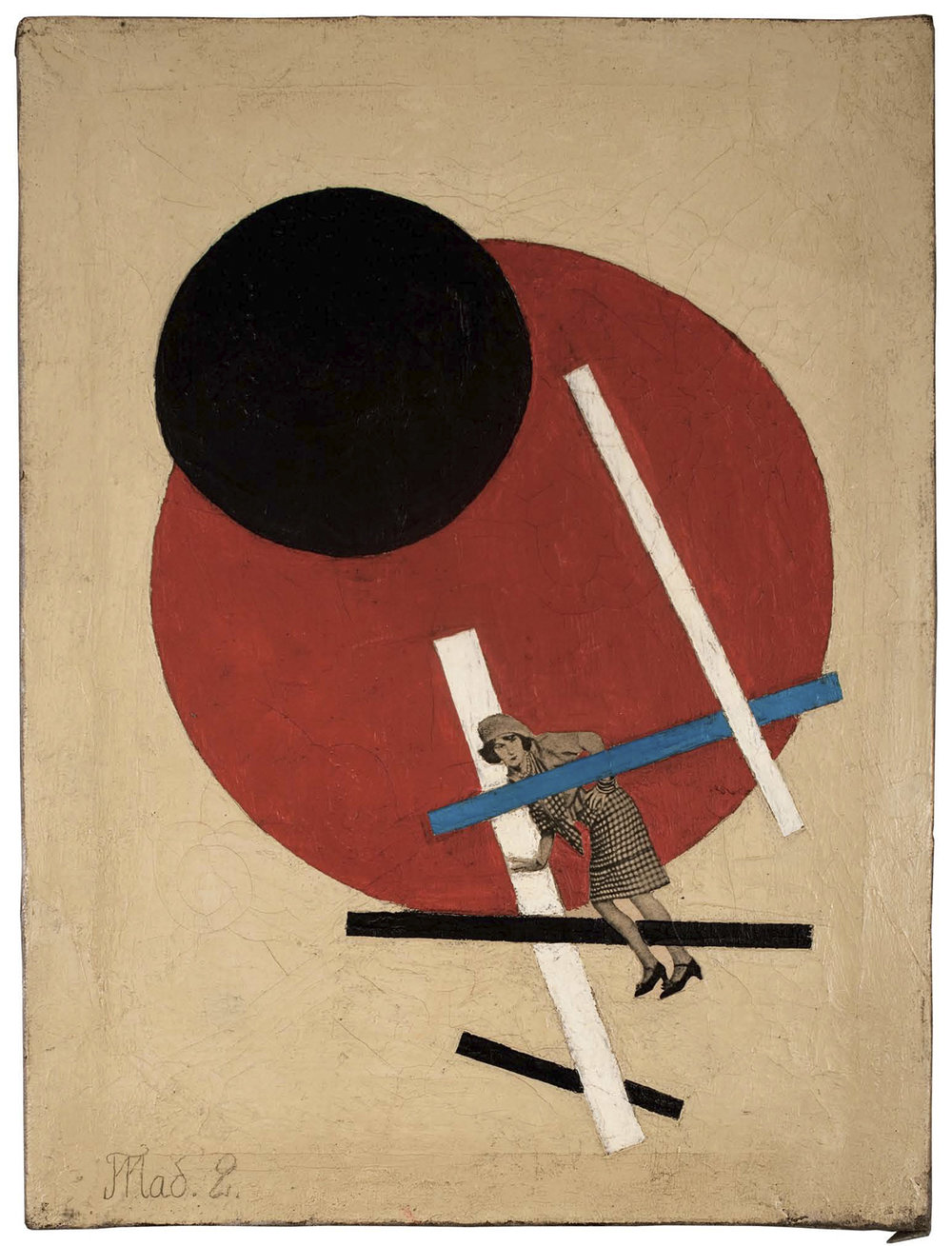 "Unattributed. Unsigned.  In the style of El Lissitzky. Text in Russian, lower left front, translates to ""Tab.2"".  Oil and collage on canvas. 40 x 30 cm."