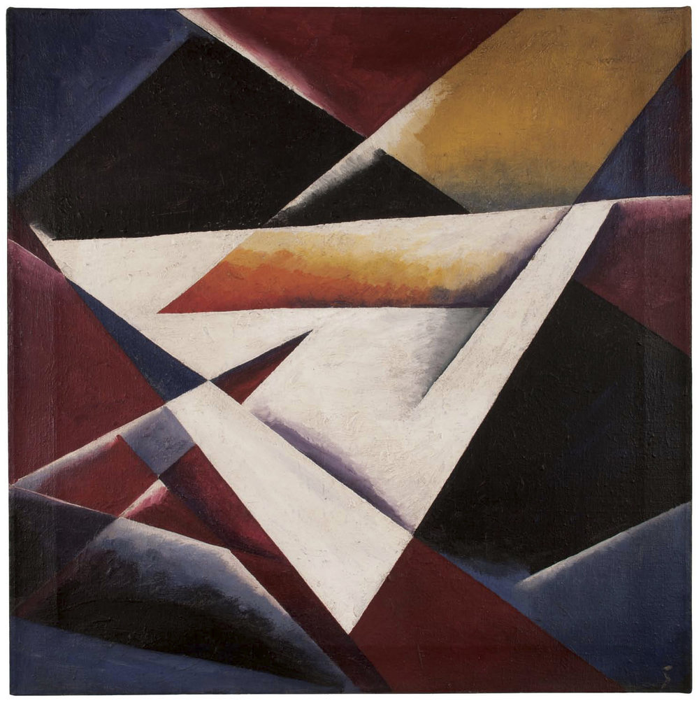 Unattributed. Unsigned. In the style of Lyubov Popova. Oil on canvas, 60 x 60 cm.
