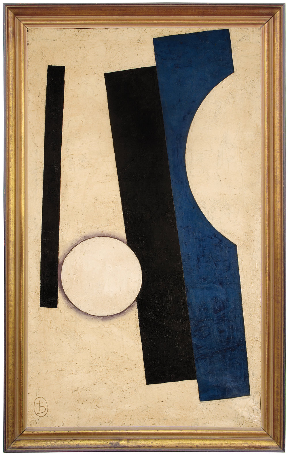 "Unattributed. Signed""b"" (archaic cyrillic ""yat"" symbol), on lower left front corner.  In the style of Liubov Popova. Faint mark on reverse, appears to read ""1916"".    Oil on canvas. 83 x 50 cm."