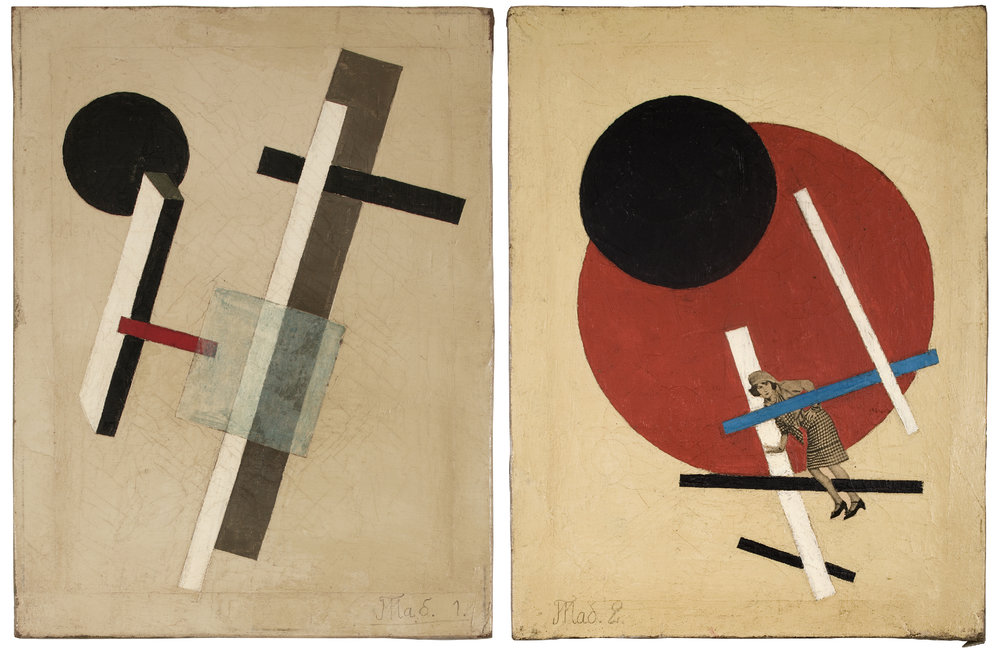 "Left: Unsigned. Unattributed. In the style of El Lissitzky. Text in Russian, lower left front, translates to ""Tab .1"". Oil and collage on canvas. 40 x 30 cm.  Right: Unattributed.  Unsigned.  In the style of El Lissitzky. Text in Russian, lower left front, translates to ""Tab.2"". Oil and collage on canvas. 40 x 30 cm."