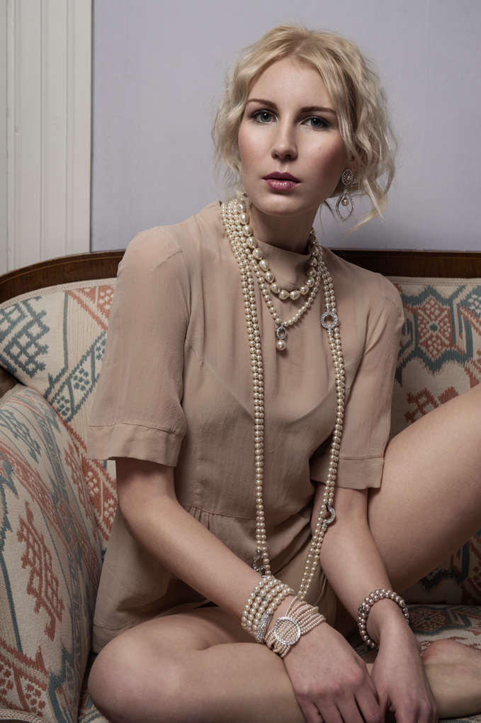 Silk blouse: L'Autre Chose Panty: H&M Necklaces,  Earrings, Bracelets: Ibero Finland