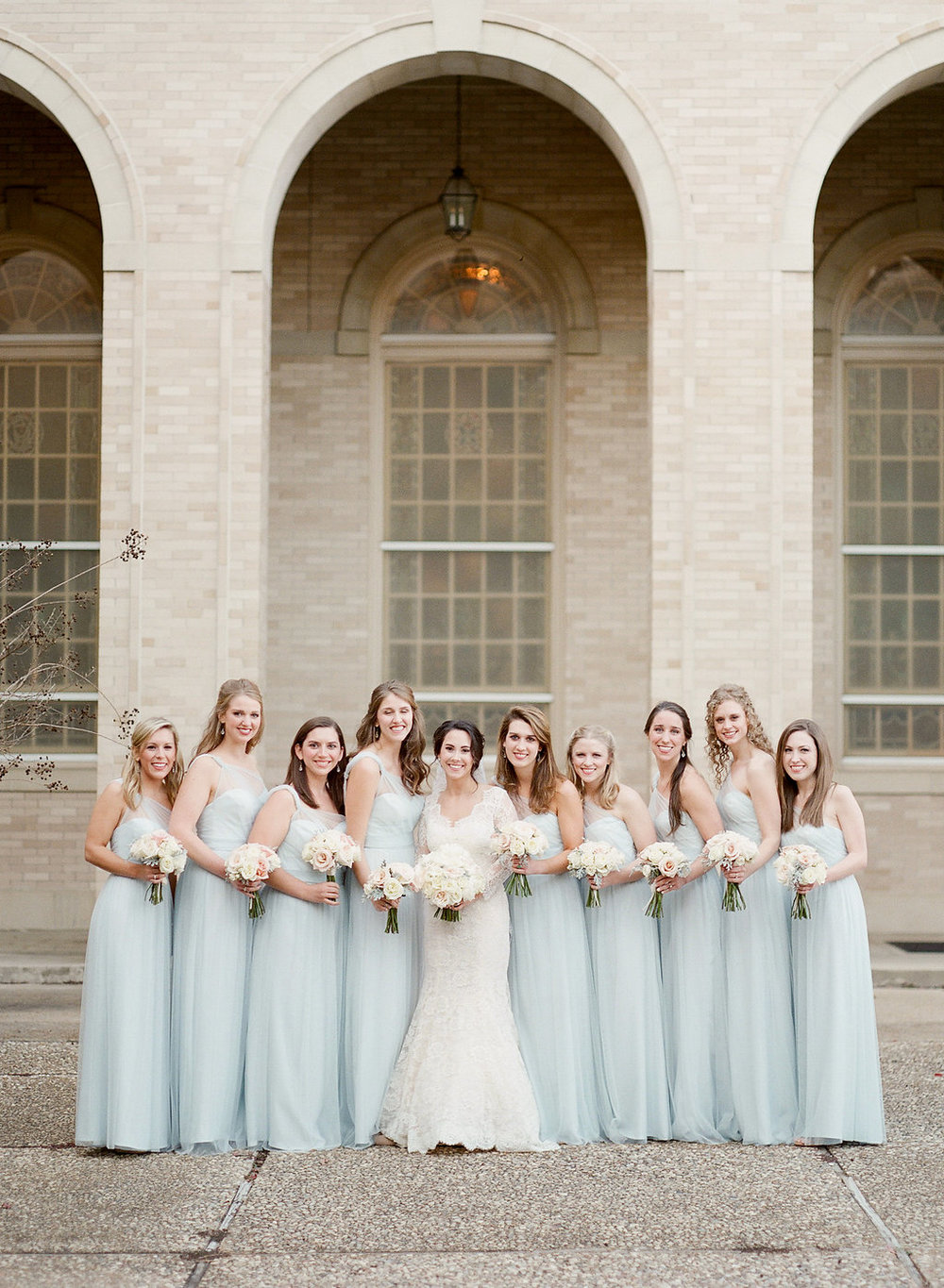 Mississippi Bridesmaids in winter wedding Jackson, MS.