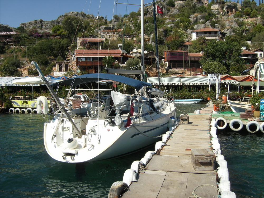 Kalekoy Castle restaurants and mooring at Kekova Roads,