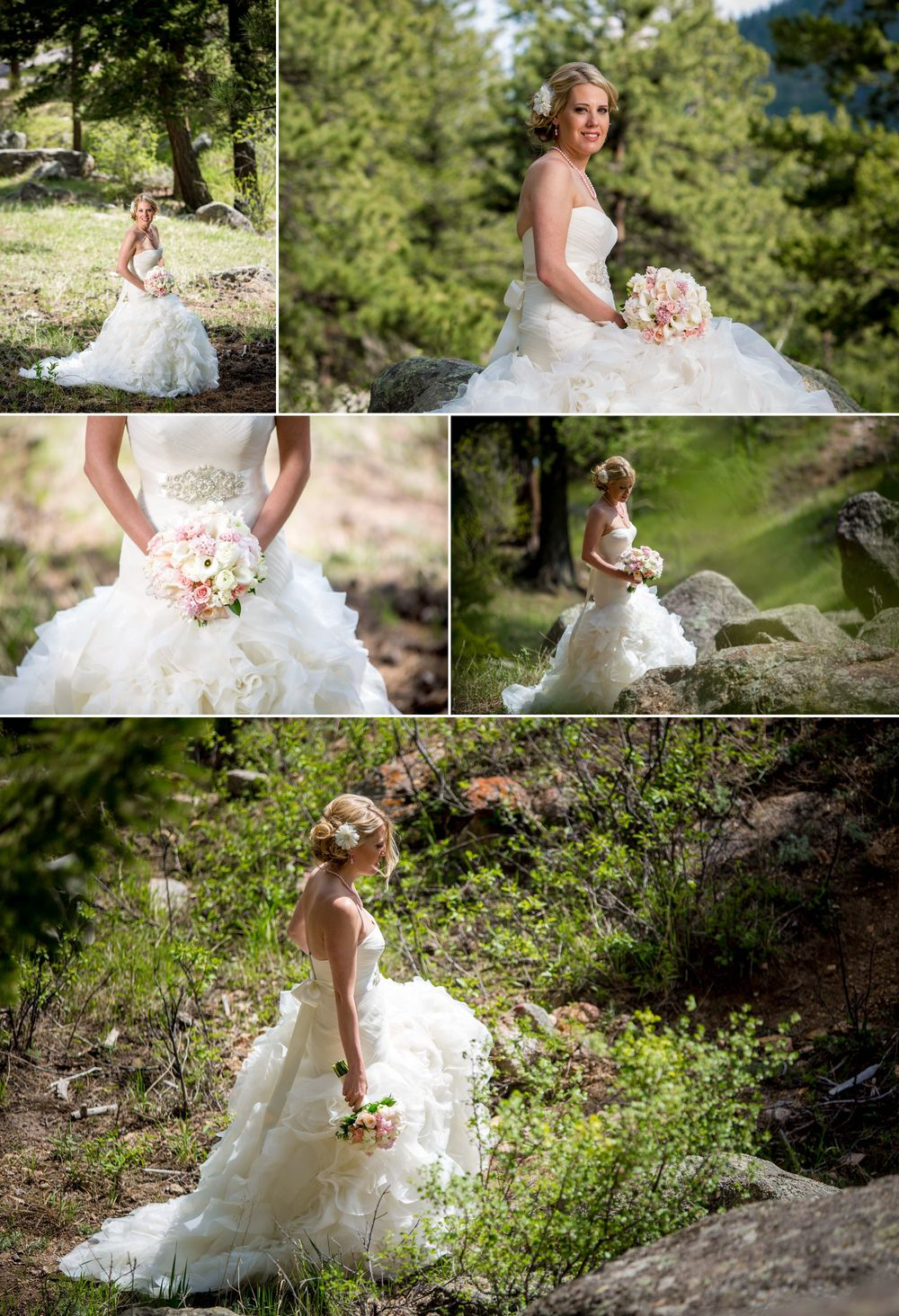 Amazing bride on her wedding day on the hillside of Della Terra Mountain Chateau!