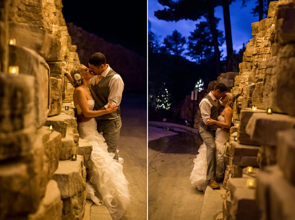 The famous wall at Della Terra with twinkling lights! So romantic!