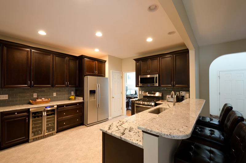Stainless Steel Appliances, Range Stove, Wine Cooler, Gray Backsplash, Granite Countertops, Kitchen Remodel