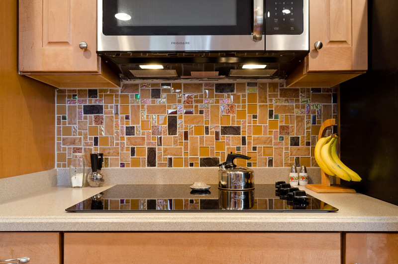 Yellow Backsplash, Glass-Top Stove