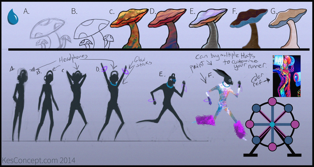 Initial Concept sheet to help find the visual style for the game.