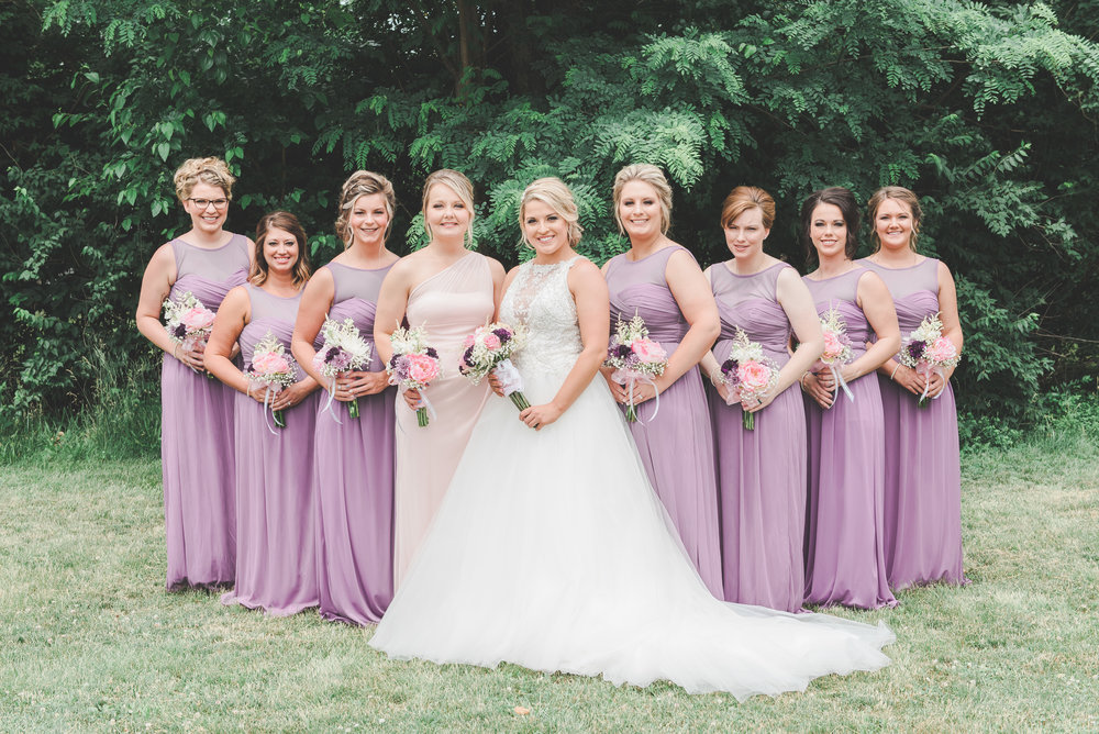 Bridesmaids Outside Purple and Pink Wedding