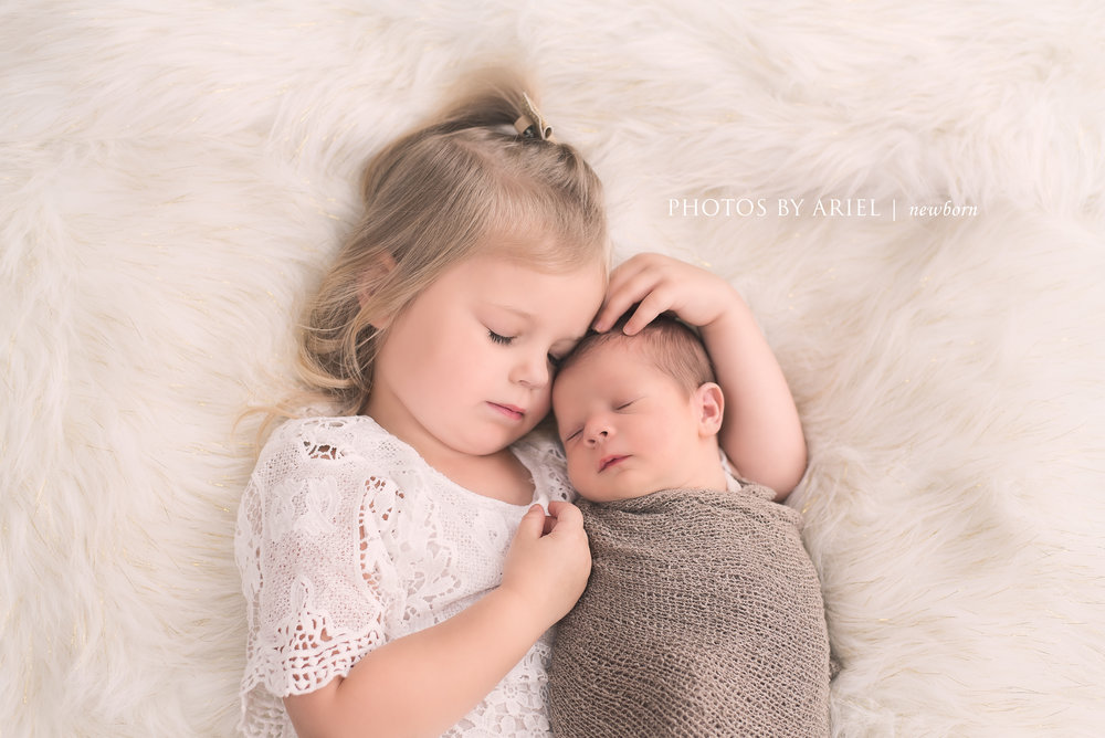 Newborn Baby with Sibling Pose