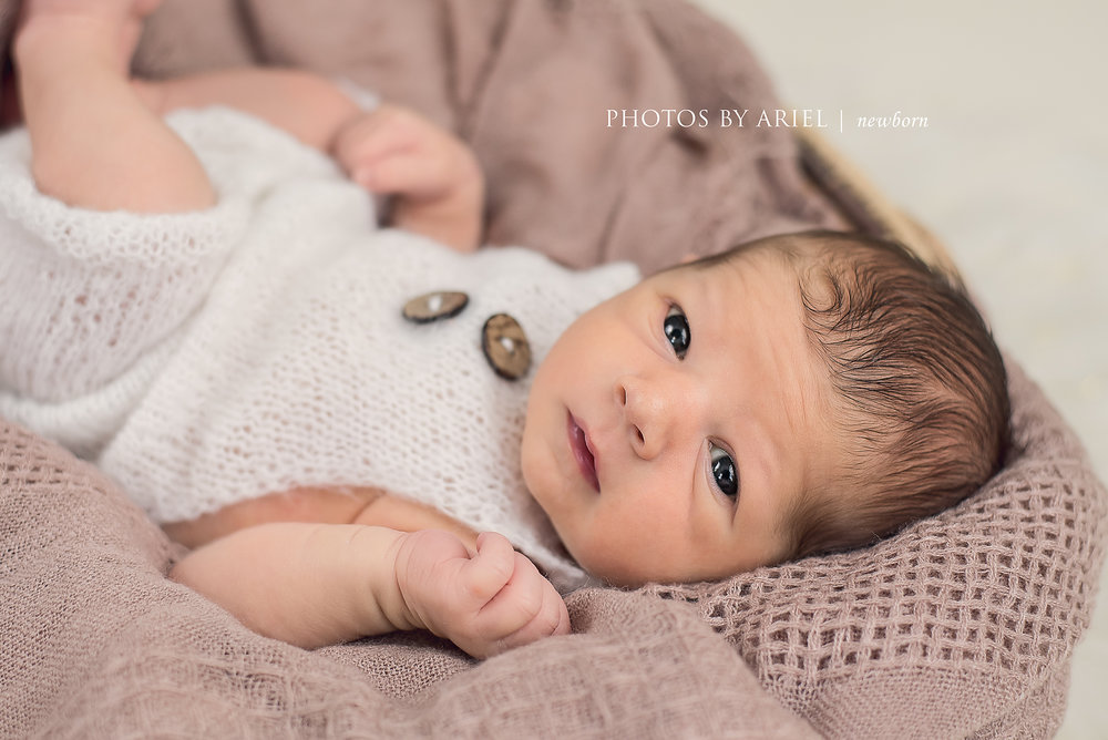 Newborn Boy in Mohair Outfit