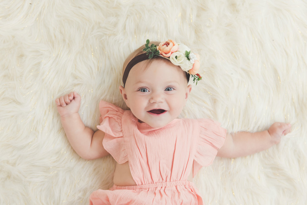 9 month old girl studio photo flower crown