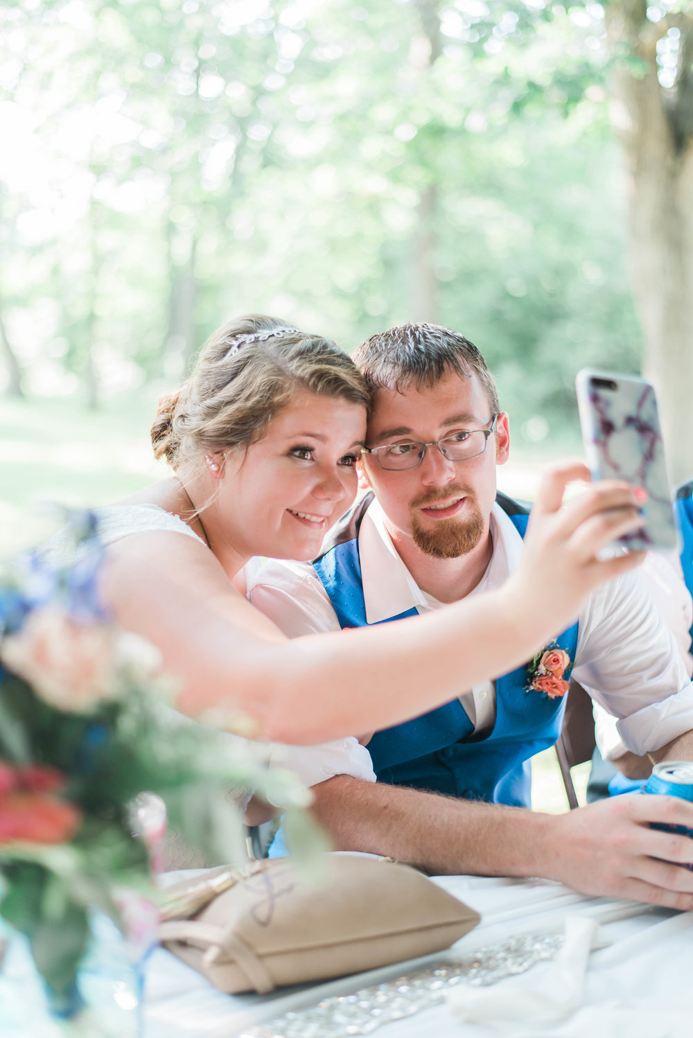 bride and groom first selfie