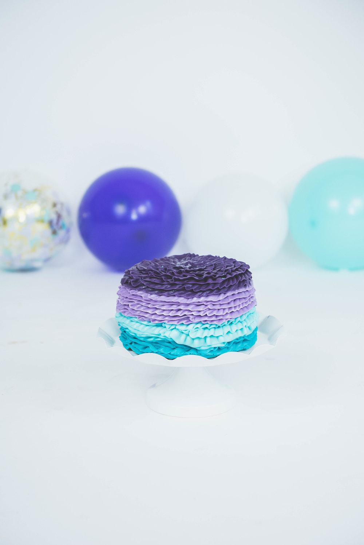 purple & turquoise smash cake