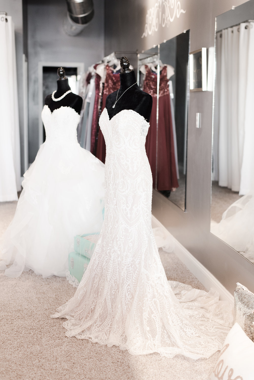 wedding dress on manuquin