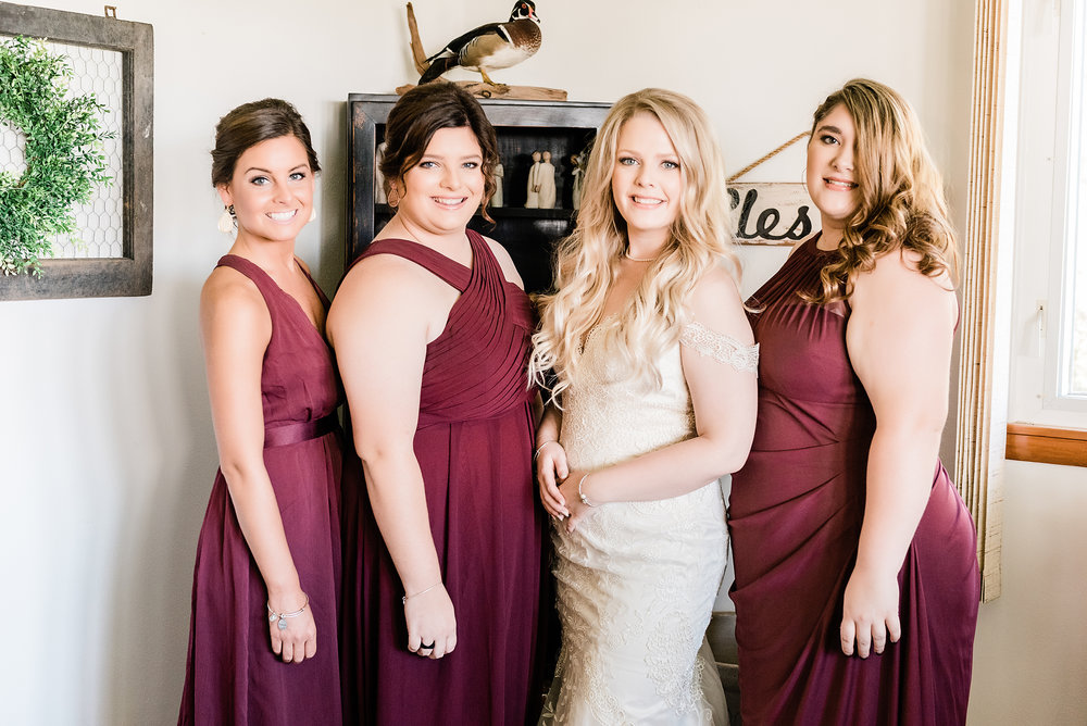 bridesmaids getting ready looking