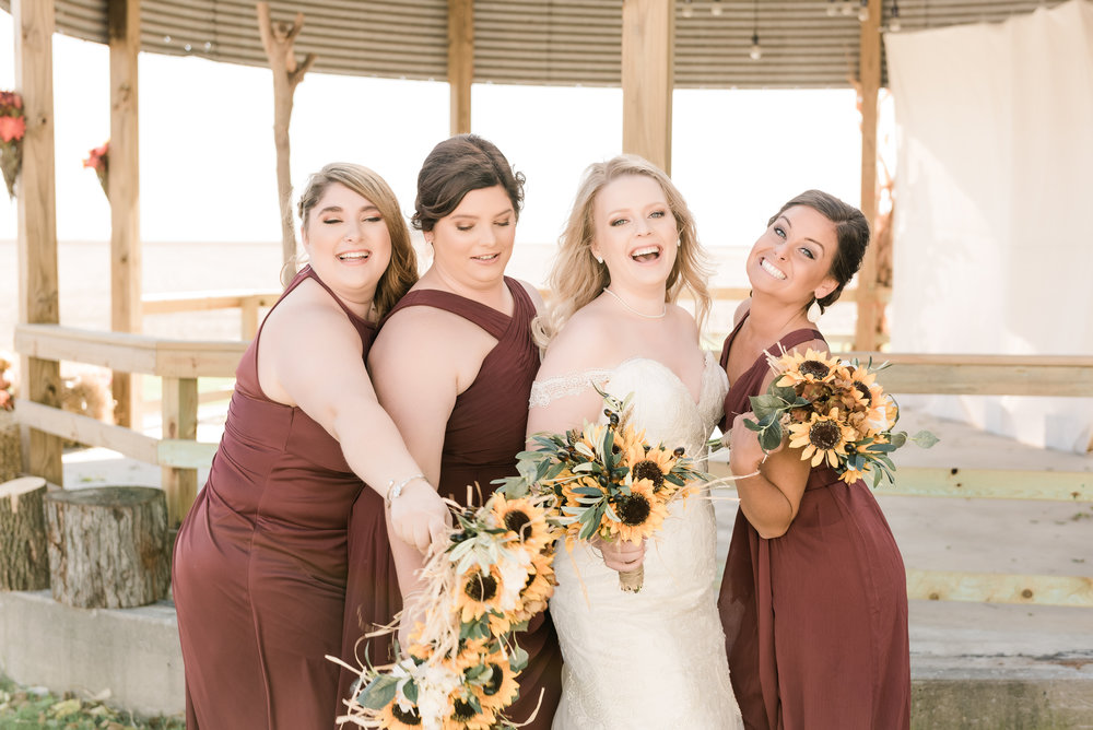 bridesmaids with the bride 2