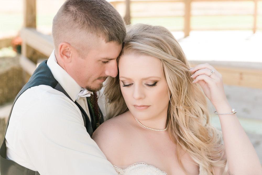 bride pushing back hair
