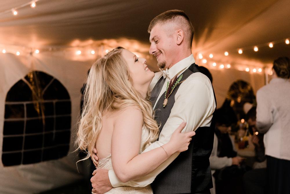bride & groom laugh