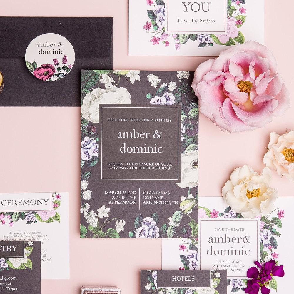 basic invite dark floral