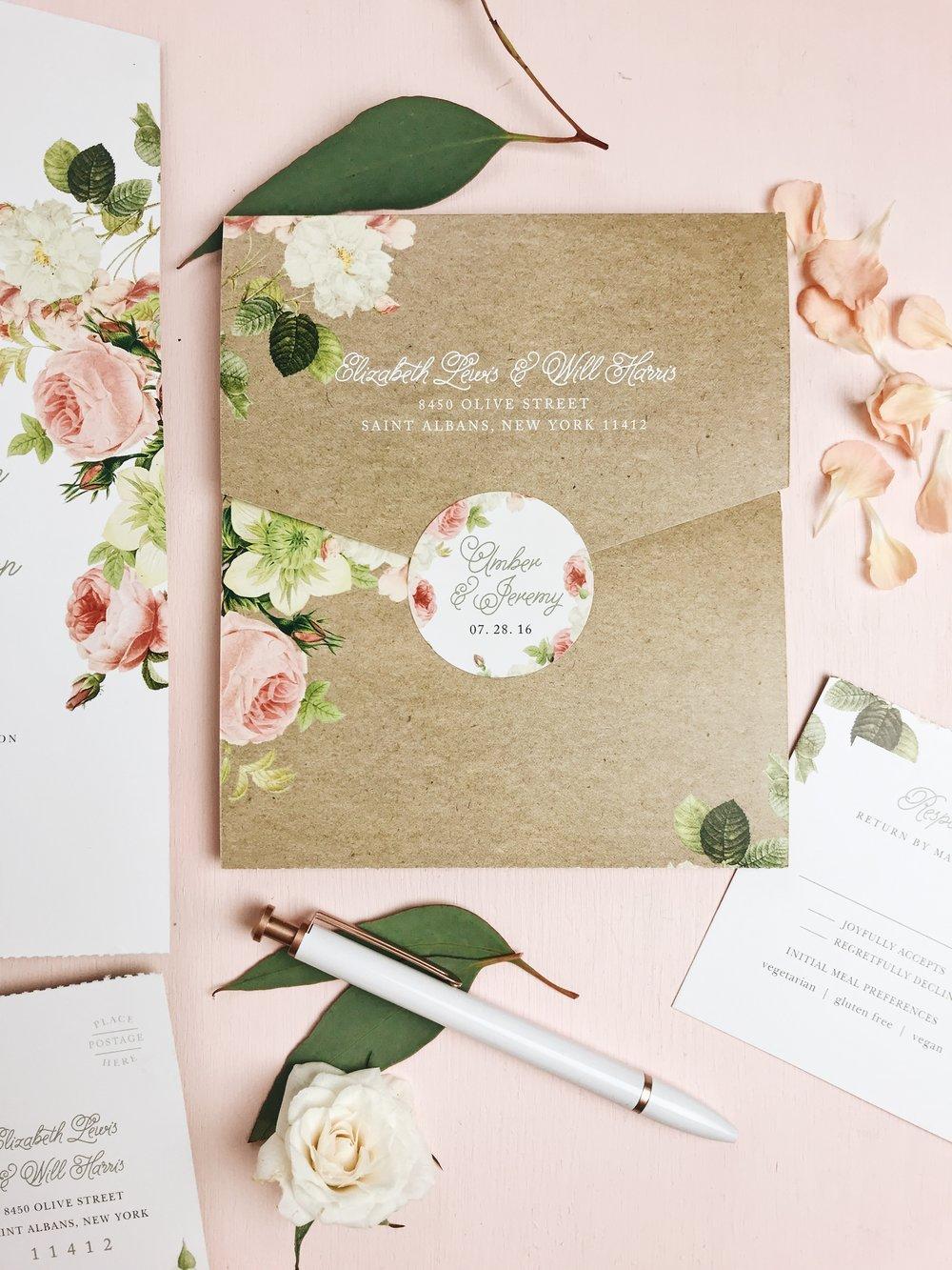 basic invite floral fold