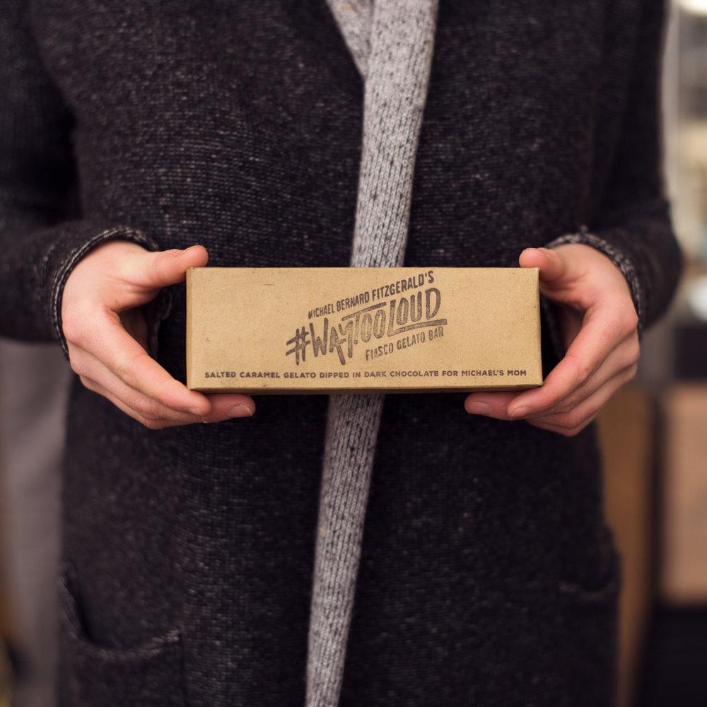 #WAYTOOLOUD - MICHAEL BERNARD FITZGERALDSalted Caramel Gelato Bar Dipped in Dark Chocolate