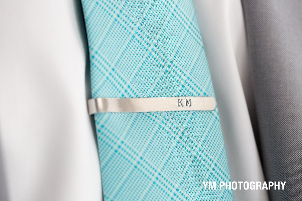 tie-clip-personalized-groom-detail-THE-YORK-INN-york-beach-Adirondack-Wedding-ym-photography
