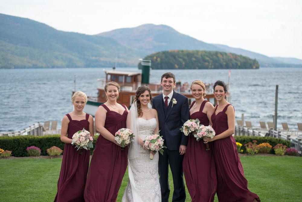 brides-maids-bride-groom-boat-sagamore-resort-lake-george-ny-wedding-ym-photography