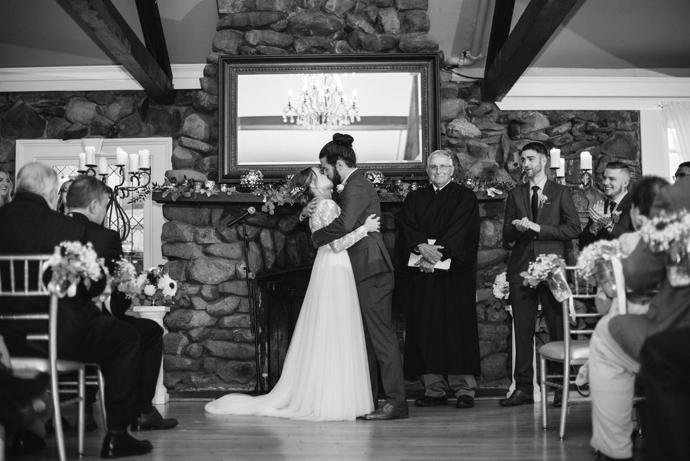first-kiss--old-daley-on-crooked-lake-albany-ny-wedding-ym-photography