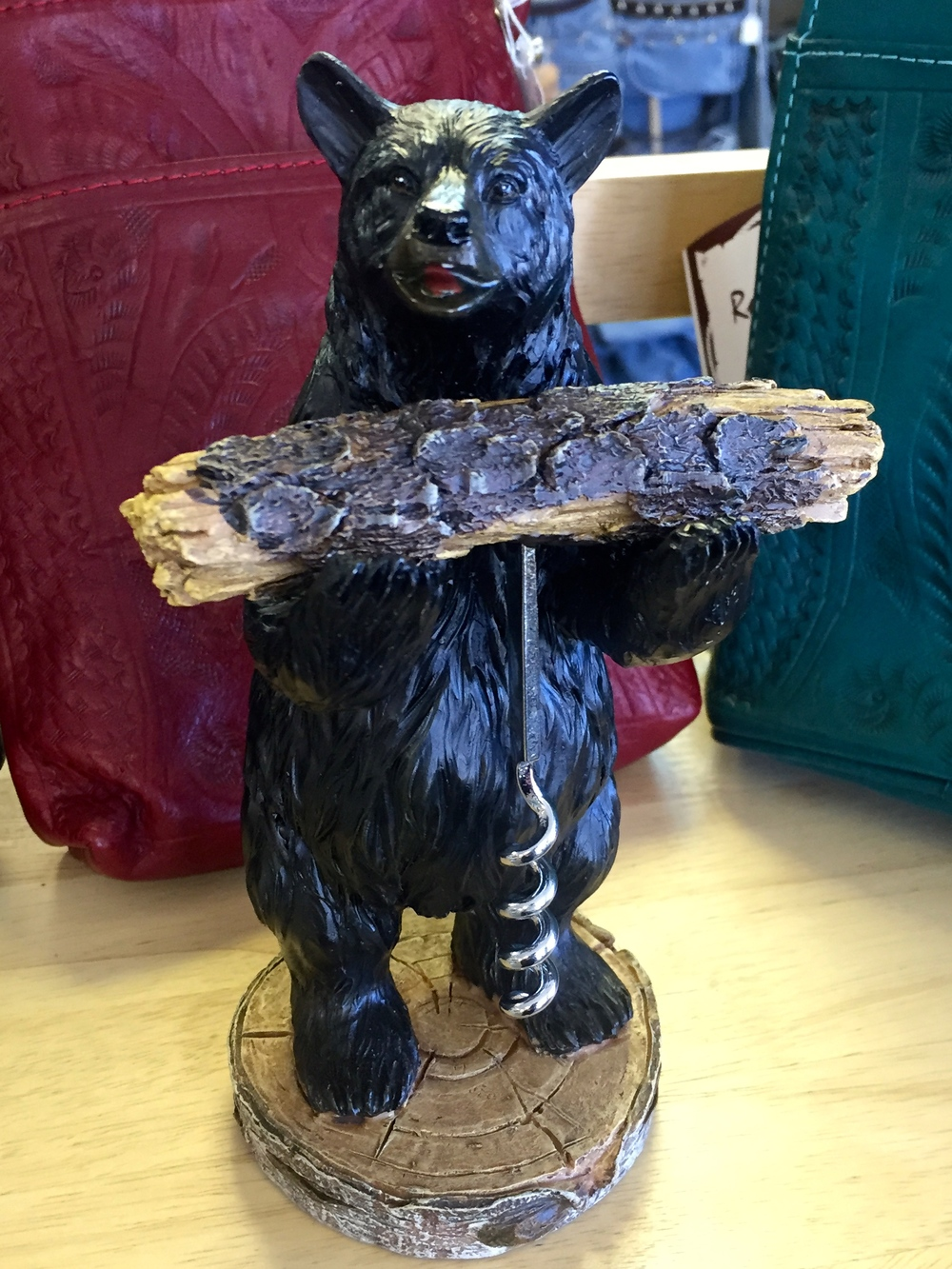 Need to open some wine? Bear Holding Corkscrew is happy to help.