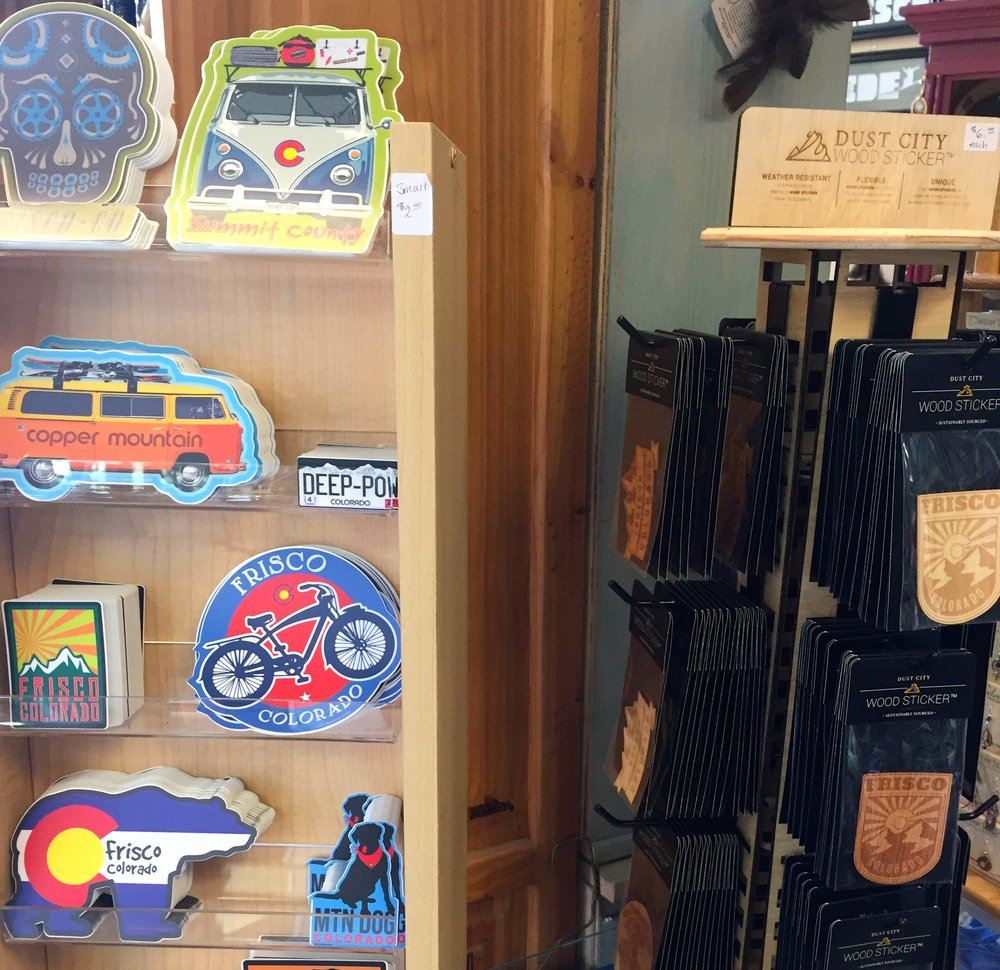 We love Steamboat Stickers and Dust City Wood Stickers! Both made right here in Colorado.